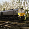 Grey 66749 passes Hillam Gates with 6H12 Tyne Dock - Drax PS Biomass on 27th Dec