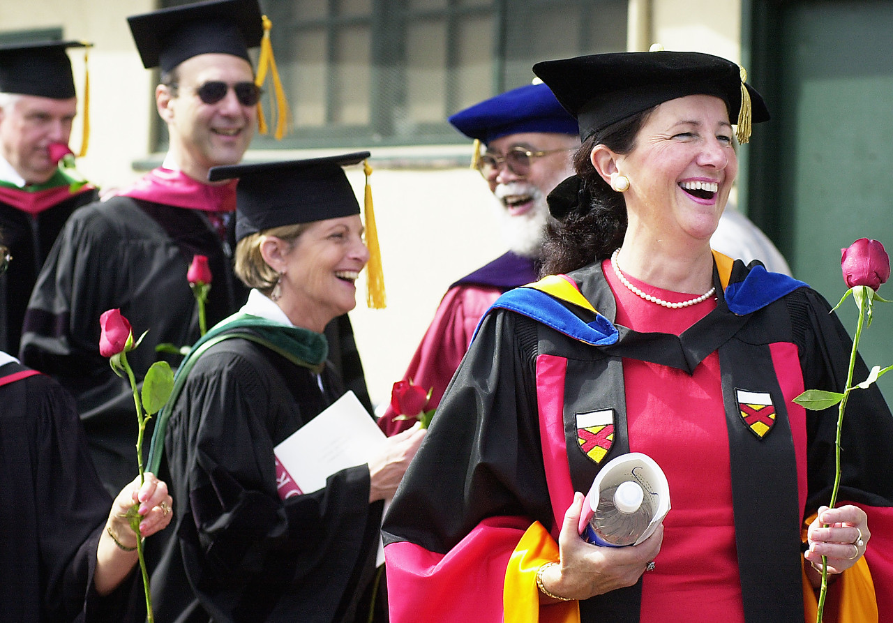 Faculty prepare to join the procession at Commencement.