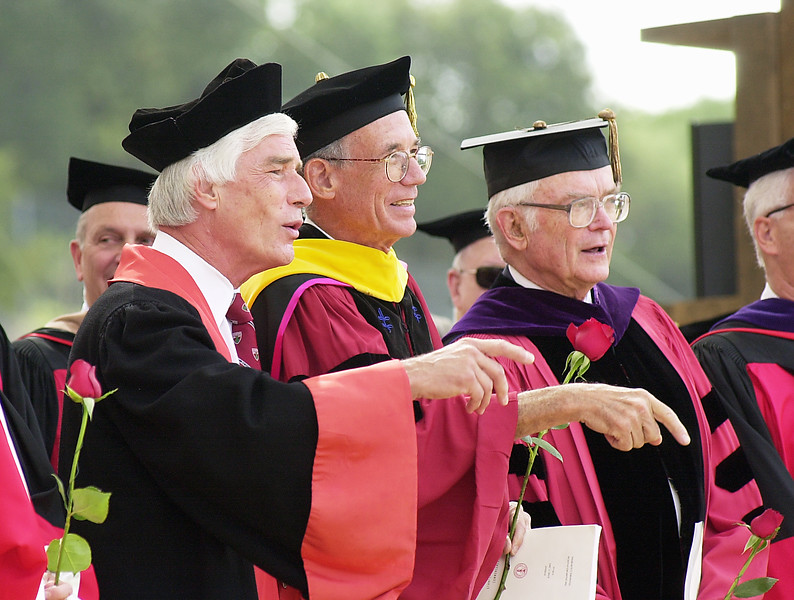 Three former presidents at commencement.