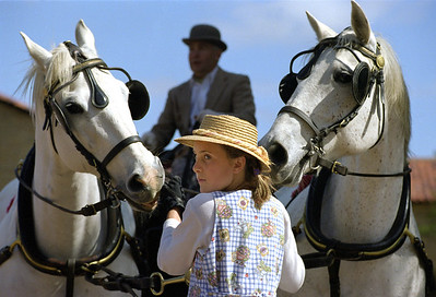 Katharina Krezlova with Kladruber horses that drew the Stanford carriage.