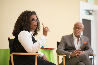 Oprah Winfrey talks with performing arts students.