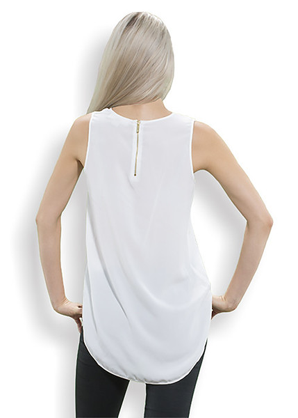 Sleveless Top (Back) in white