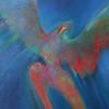 "Lunenburg artist Linda Malcomb painting called ""Ascension"" that she painted late last year, 2016. SENTINEL & ENTERPRISE/JOHN LOVE"