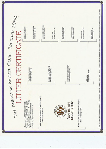 Bonnie's litter AKC Litter Certificate<br /> <br /> Green Acres Garden - Linda's Bonnie Scots - Princeton Texas