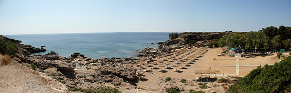 Beautiful sandy Ladiko beach south of Rhodes Town.