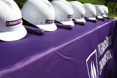 Hard hats at Lindquist Hall Renovation Kick Off