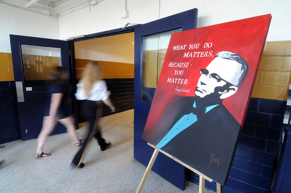 A portrait of Craig Lindvahl by Jamie Stang-Ellis owner of StangARTs Studio and Gallery welcomes those entering J.H. Griffin Gym for the Teutopolis High School Spring Concert.<br /> Chet Piotrowski Jr. photo/Piotrowski Studios