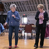 Thursday mornings at the Fitchburg Senior Center you can take line dancing classes with Joyce D'Aguanno of Fitchburg. D'Aguanno, on left, helps Rose Dalessio of Fitchburg as she teaches her some steps on Jan. 9, 2020. SENTINEL & ENTERPRISE/JOHN LOVE
