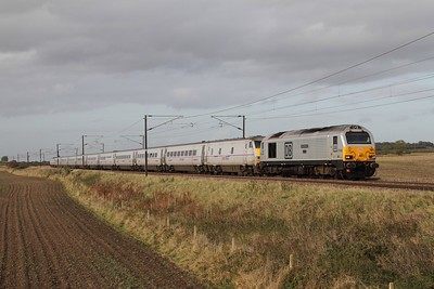 67029+82223 tnt 91129 on the 1E06 0650 Glasgow Central to Kings Cross only 255 minutes late at Frinkley Lane, Marston on the 17th October 2014