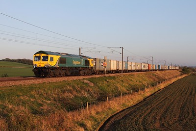 66414 on the 1520 Felixstowe to Doncaster at Frinkley Lane on the 23rd April 2015