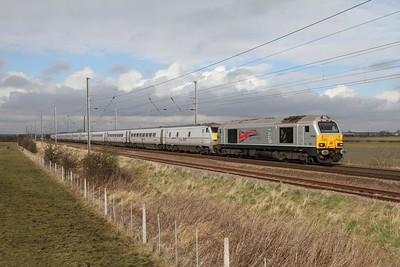 67026 leads 82226, BN23+91107 as 5E02 0919 Newcastle to Bounds Green at Claypole on 18th February 2014  1E02 0548 Edinburgh to London Kings Cross failed at Newcastle following power issues with the DVT