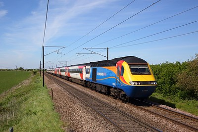 43061+43075 on the 1A34 1415 Leeds to London Kings Cross at Marston on the 15th May 2019