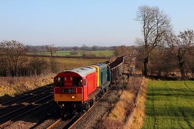 20189+20142 6D02 Wellingborough to Mountsorrel at Kilby bridge on the 22nd January 2014