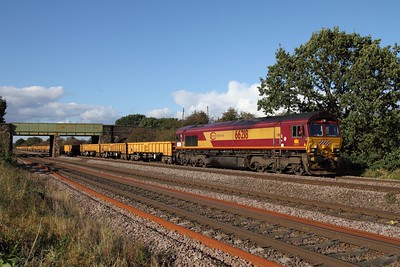 66218 on the 6M23 Doncaster Virtual Quarry to Mountsorrel at Cossington on the 3rd October 2012