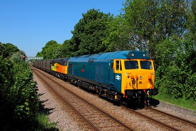 50007+56105 tnt 47739 on the 6E07 Washwood Heath to Boston at Bingham on the 17th May 2014