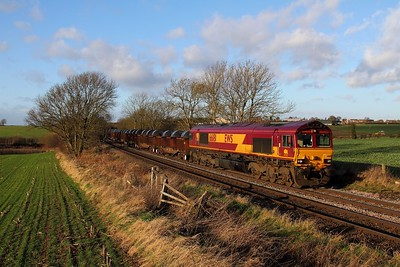 66181 on the 6M96 Margam to Corby at Chellaston on the 19th December 2014