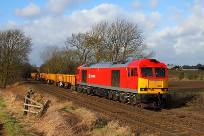 60054 on 6D44 Bescot to Toton at Chellaston on the 31st January 2013