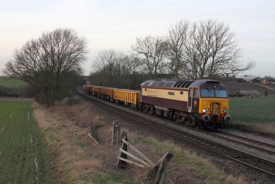 57305 on the 6Z96 Crewe Basford Hall to Toton at Chellaston on the 2nd February 2015