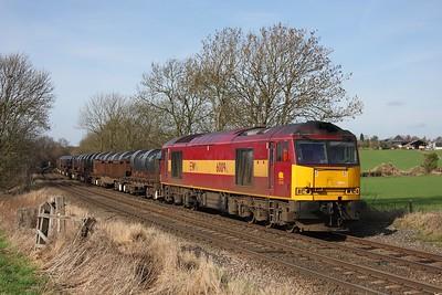60096 powering 6M96 Margam to Corby at Chellaston on 24 February 2011  Class60, DBSchenker, Stensonline