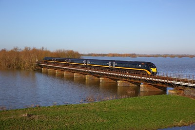 180103 on the 1A83 0934 Bradford Interchange to Kings Cross crosses the Hundred foot drain - Ouse Washes at Pymoor south of Manea on the 19th January 2020