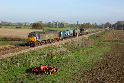 57002 leads 57003 powering the 3S60 Stowmarket circular via Shenfield, Clacton and Thetford RHTT at Kelvedon on 7 November 2020  Class57, DRS, RHTT, GEML