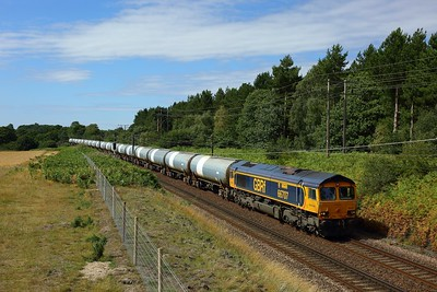 66707 working 6P41 0957 Harwich Refinery to North Walsham at Belstead Bank on 5 August 2020  GBRf66, GEML