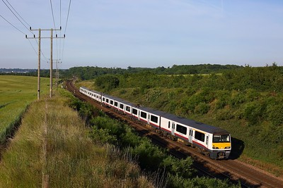 321322 leading 321439 on the 1Y55 1849 Ipswich to London Liverpool Street at Belstead Bank on 16 June 2020  GreaterAnglia, Class321, GEML