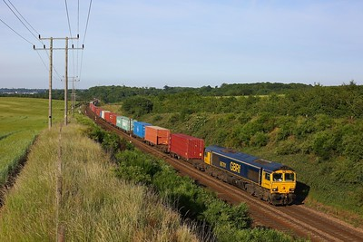 66701 hauling the 4M02 1724 Felixstowe South to Hams Hall at Belstead Bank on 15 June 2020  GBRf, Class66, GEML