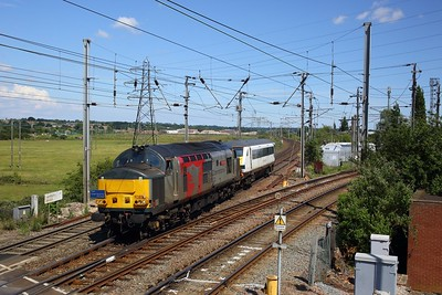37611 hauls DVT 82127 as 5Q59 1044 Mid Norfolk sidings to Leicester LIP at Manningtree south junction on 15 June 2020  ROG, Class37, GEML
