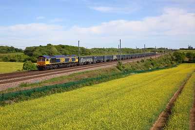 GBRf 66748 top and tailed with 66707 after the latter failed in the Medway Valley, work the 6M79 Tonbridge yard to Bardon Hill near Harpenden at Childwickbury on the MML on 18 May 2020