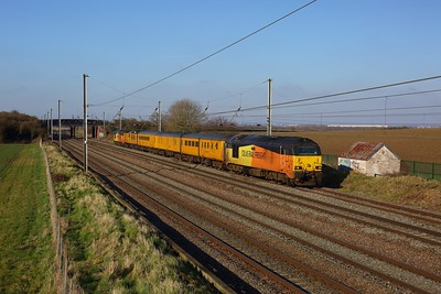 67027 leading 67023 on 1Q18 1239 Derby RTC to RTC via Flitwick, Kettering and Bedford testing OHL at Millbrook on 28 February 2021  Class67, ColasRail, MMLSouth
