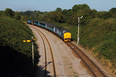 37419+37405 on the 2J80 1455 Norwich to Lowestoft at Reedham on the 30th August 2016