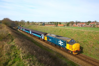 37407 tnt 37716 on the 2P12 0836 Norwich to Great Yarmouth arriving at Acle on the 18th March 2019