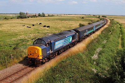 37419 tnt 37425 on the 2P21 1317 Great Yarmouth to Norwich at Stracey Arms on the 3rd August 2015
