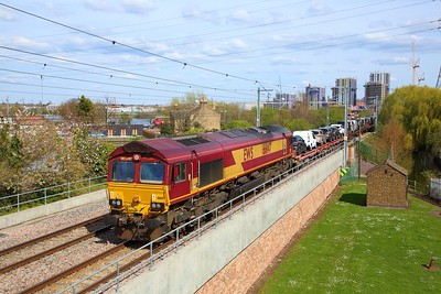 66147 on the 6X77 Dagenham to Mossend at Walthamstow Wetlands on the 5th April 2019