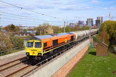 66623 on the 6M84 Dagenham to Hope at Walthamstow Wetlands on the 5th April 2019 2