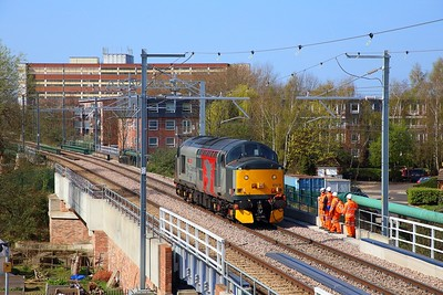 37601 on the 0Z01 Willesden to Willesden via Barking on the GOBLIN over the River Lea at Blackhorse Road on 1st April 2019