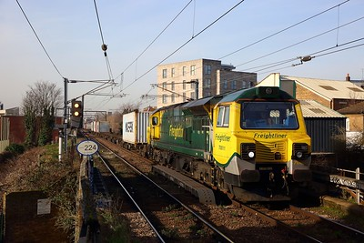 70011 on the 4L41 Crewe Basford Hall to Felixstowe at Homerton on the 5th February 2020