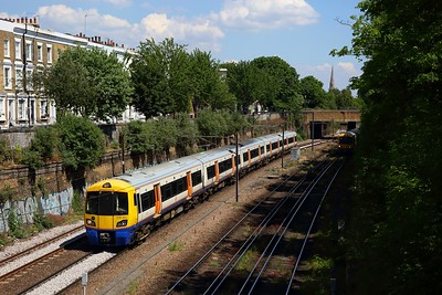 London Overground 378201 working the 2N78 1359 Stratford to Richmond on NLL at Mildmay, Canonbury on 21 May 2020