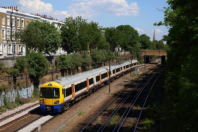 London Overground 378255 works the 2Y72 1407 Stratford to Clapham junction at Mildmay, Canonby on NLL on 21 May 2020