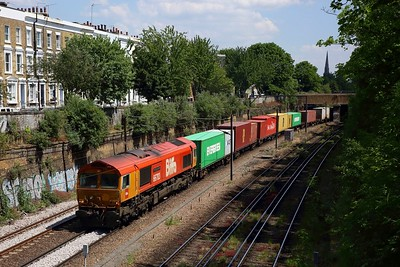 GBRf Biffa 66783 on 4M23 Felixstowe to Hams Hall powers away from Mildmay Park towards Canonbury on the NLL on 21 May 2020
