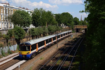 London Overground new liveried 378204 works the 2Y70 1353 Stratford to Clapham junction at Mildmay, Canonbury on NLL on 21 May 2020