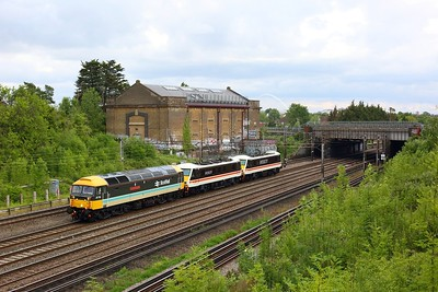 47712 leading Inter City liveried 90001 and 90002 on 0Z37 1556 Eastleigh Arlington to Crewe at Northwick Park north on WCML on 11 June 2020  LSL, Class47, WCMLLondon