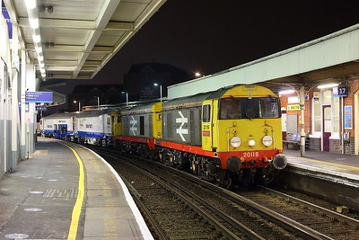20118 leading 20132 hauling DR73950 as 6Q66 West Ealing to East Grinstead at Clapham junction on 22 February 2021  Class20, BMLLondon, Tamper