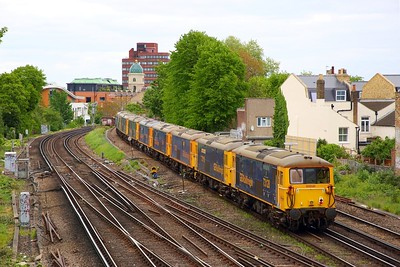 73128+73119+73212+73141+73107+73109+73136+73201 on the 0X36 Kentish Town to Tonbridge yard at Brixton on the 6th May 2019