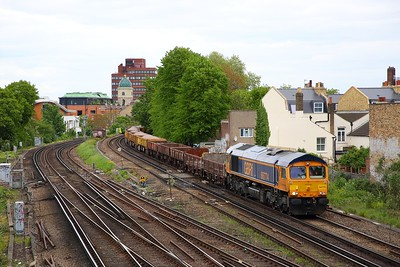 66774 working the 6L37 Hoo junction to Whitemoor (now a GB working vice Colas) at Brixton on the 6th May 2019