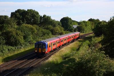 455867 works the 2H58 1822 Shepperton to Kingston shuttle away from Shepperton on 14 June 2020  Sheppertonline, Class455, SWR
