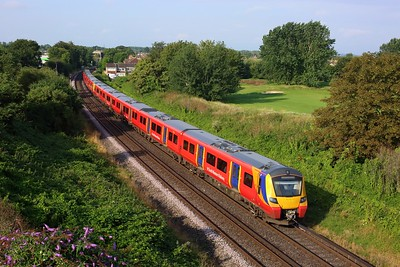 707011 leading 707027 on 2H18 0811 Shepperton to London Waterloo at Shepperton golf course on 5 August 2021  Class707, SWR, Sheppertonbranch