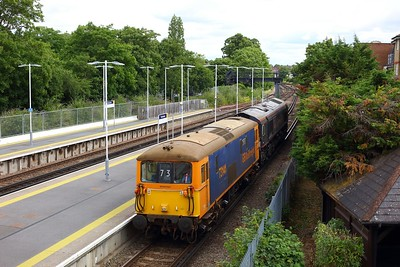 73141 hauls 66792 ex-Rush Rail T66405  to Eastleigh from Tonbridge as 0Y68 on 1 July 2020 at Twickenham  Class73, GBRf, WaterlooReadingline