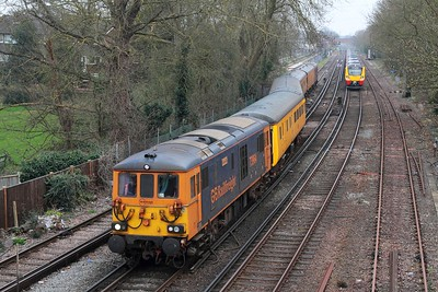 73964+73963 on the 1Q54 Eastleigh to Dollands Moor departing Staines loop as 707003+707005 await with the 5Q61 1410 Clapham Yard to Reading on 16th March 2017 1